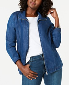 Karen Scott Petite Zip-Front Jean Jacket, Created for Macy's