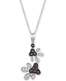 "Le Vian® Diamond Paw Prints 20"" Pendant Necklace (1/2 ct. t.w.) in 14k White Gold"