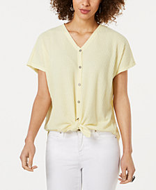 Style & Co Textured Tie-Hem Shirt, Created for Macy's