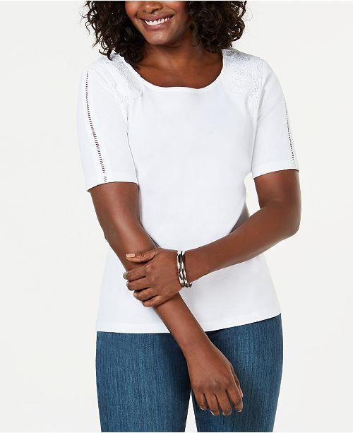 Karen Scott Petite Cotton Lace-Appliqué T-Shirt, Created for Macy's