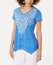 Style & Co Graphic Handkerchief-Hem T-Shirt, Created for Macy's