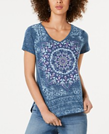 Style & Co Glitter Graphic-Print T-Shirt, Created for Macy's