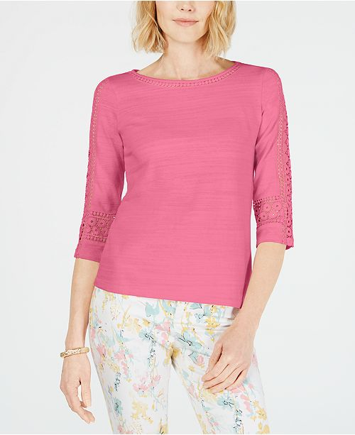 Charter Club Crochet-Inset Top, Created for Macy's