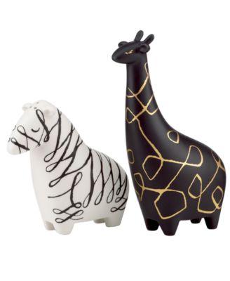Salt and Pepper Shakers, Woodland Park Zebra and Giraffe