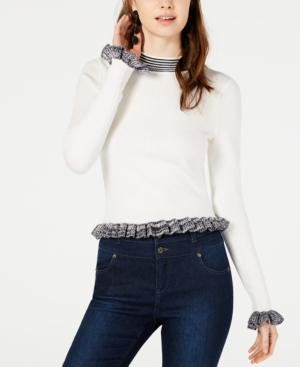 French Connection Knits ALEXA RUFFLE-TRIM KNIT SWEATER