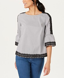 Charter Club Petite Woven Trim Bell-Sleeve Blouse, Created for Macy's