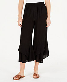 American Rag Juniors' Ruffled Wide-Leg Pants, Created for Macy's