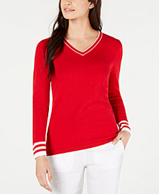 Tommy Hilfiger Ivy Cotton Striped-Trim Sweater, Created for Macy's