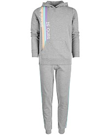 Ideology Big Girls Future-Print Hoodie & Side-Stripe Jogger Pants, Created for Macy's