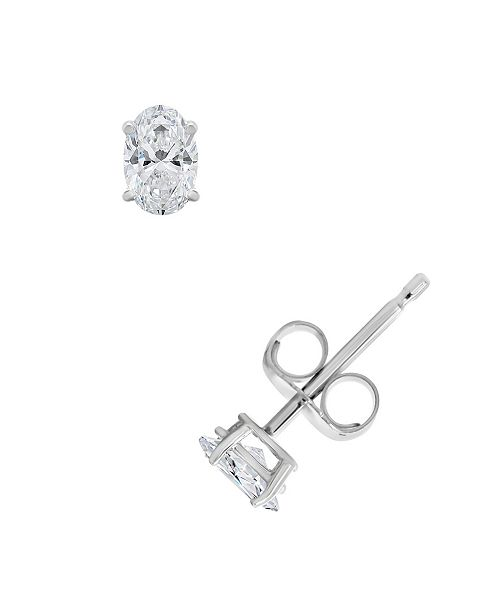 Macy's Certified Oval Diamond Stud Earrings (1/2 ct. t.w.) in 14k White Gold or Yellow Gold