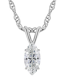 Certified Marquise Diamond Solitaire Pendant Necklace (3/4 ct. t.w.) in 14k White Gold or Yellow Gold