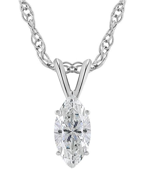Macy's Certified Marquise Diamond Solitaire Pendant Necklace (3/4 ct. t.w.) in 14k White Gold or Yellow Gold