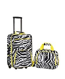 Rockland 2PCE Lime Zebra Softside Luggage Set