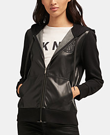 DKNY Faux-Leather Zip-Up Hooded Jacket, Created for Macy's