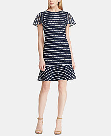 Lauren Ralph Lauren Striped Lace-Sleeve Dress