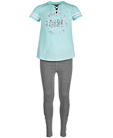 Ideology Big Girls Graphic-Print Lace-Up Top & Printed-Panel Caged Leggings, Created for Macy's