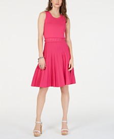 MICHAEL Michael Kors Lace-Up Textured Dress
