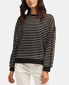 DKNY Striped Mesh Top, Created for Macy's