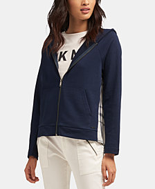 DKNY Plaid-Back Zip-Up Hoodie, Created for Macy's