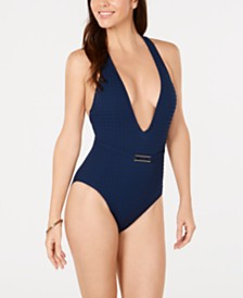 La Blanca Get to the Point Strappy Back Plunging One-Piece Swimsuit