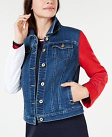 Tommy Hilfiger Colorblocked-Sleeve Denim Jacket