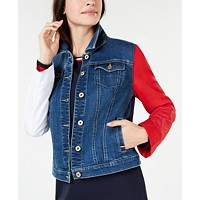 Tommy Hilfiger Womens Colorblocked-Sleeve Denim Jacket