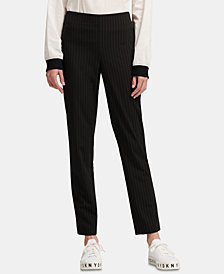 DKNY Pinstriped Straight-Leg Ankle Pants, Created for Macy's