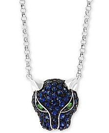 "EFFY Sapphire (1/2 ct.t.w.) and Tsavorite Accent Panther 18"" Pendant in 14K Yellow Gold"