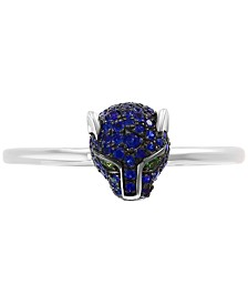 EFFY® Sapphire (1/4 ct .t.w.) and Tsavorite Accent Panther Ring in 14k White Gold