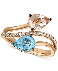 Peach Morganite (3/4 ct. t.w.), Sea Blue Aquamarine (9/10 ct. t.w.) and Vanilla Diamond (1/6 ct. t.w.) Bypass Ring in 14k Rose Gold