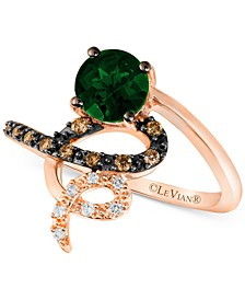 Pistachio Diopside (3/4 ct. t.w.), Chocolate Diamond (1/10 ct. t.w.) and Vanilla Diamond Accent Spiral Ring in 14k Rose Gold