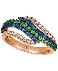 Multi-Gemstone (3/4 ct. t.w.) & Nude Diamond (3/8 ct. t.w.) Ring in 14k Rose Gold
