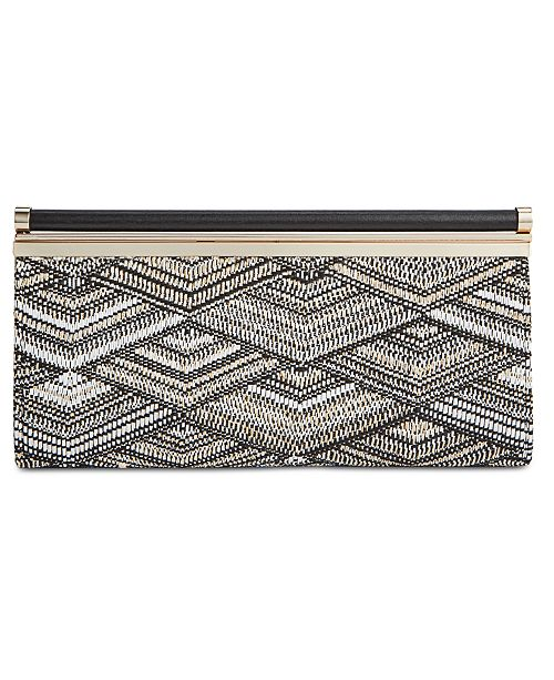 INC International Concepts I.N.C. Carolyn Straw Clutch, Created for Macy's