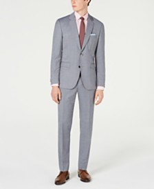 HUGO Men's Modern-Fit Mini-Grid Suit Separates