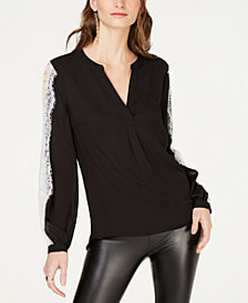 I.N.C. Lace-Sleeve Woven Knit Top, Created for Macy's