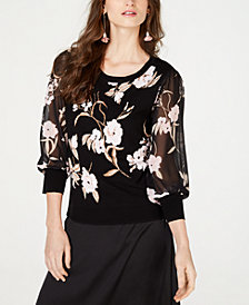 I.N.C. Petite Floral Sheer-Sleeve Sweater, Created for Macy's