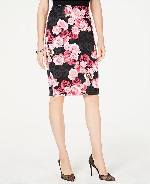 INC International Concepts I.N.C. Printed Scuba Pencil Skirt, Created for Macy's
