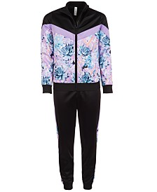 Ideology Big Girls Printed Colorblocked Track Jacket & Jogger Pants, Created for Macy's