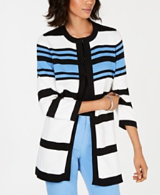 Kasper Cotton Striped Cardigan Topper