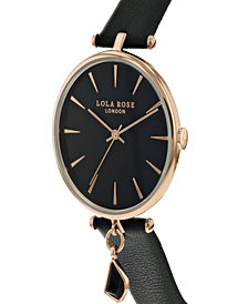 "Lola Rose ""Success"", Ladies, Black Leather Strap with Genuine Black Agate Stone Hanging Charm, 34MM"