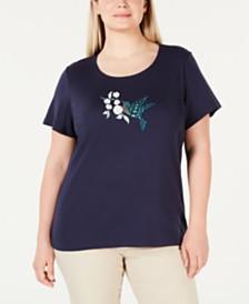 be8ff9d3fe3 Karen Scott Plus Size Hummingbird T-Shirt