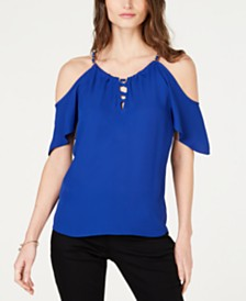 I.N.C. Lace-Up Cold-Shoulder Top, Created for Macy's
