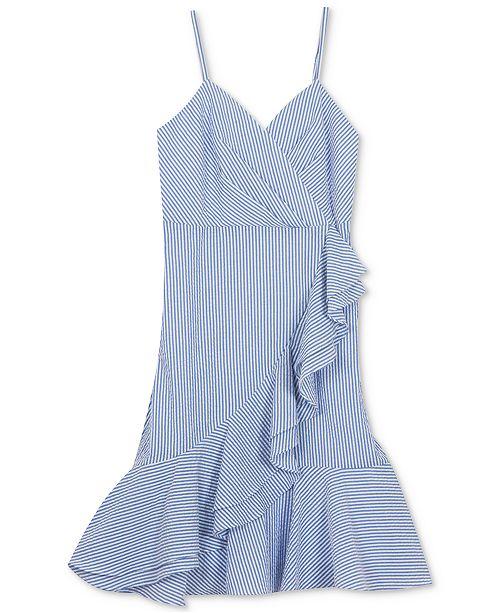 Rare Editions Big Girls Plus-Size Ruffle-Trim Seersucker Dress, Created for Macy's