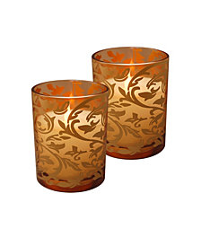 LumaBase Set of 2 Jacquard Glass Battery Operated LED Candles