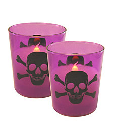 LumaBase Set of 2 Skull and Crossbones Glass Battery Operated LED Candles