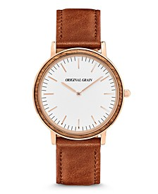 Unisex Minimalist Zebrawood, with Rose Gold Case and Italian Leather 40mm Watch