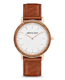 Original Grain Unisex Minimalist Zebrawood, with Rose Gold Case and Italian Leather 40mm Watch