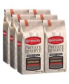 Private Reserve Espresso Extra Dark Roast Specialty-Grade Whole Bean Coffee, 12 Oz - 6 Pack