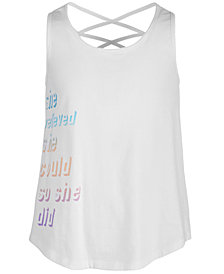 Ideology Big Girls She Believed Graphic Tank Top, Created for Macy's