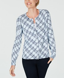 Karen Scott Petite Printed Fine-Gauge Cardigan, Created for Macy's